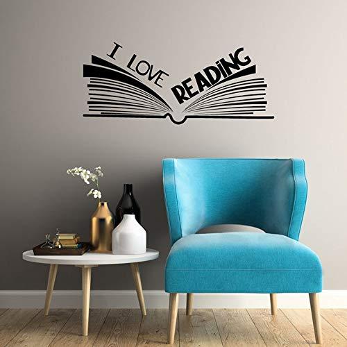 WERWN Me Encanta Leer calcomanías de Pared librería Biblioteca Esquina de Lectura Pegatinas de Pared de Vinilo Libro Abierto Aula niños Dormitorio Arte Mural