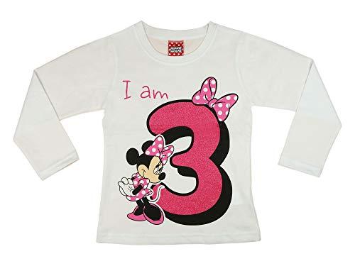 Mädchen Baby Kinder dritter Geburtstag T-Shirt 3 Jahre Birthday Outfit GRÖSSE 98 104 Minnie Mouse Disney Design Glitzer Weiss oder Rosa Babyshirt Oberteil Farbe Weiss, Größe 98