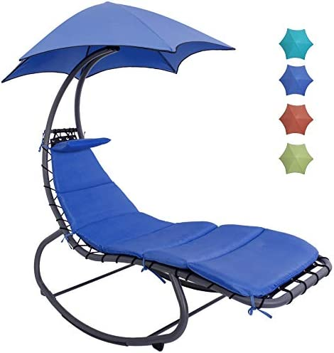 Lazy Daze Hammocks Chaise Lounger Chair Curved Steel Lounger Swing Chair with Built in Pillow product image
