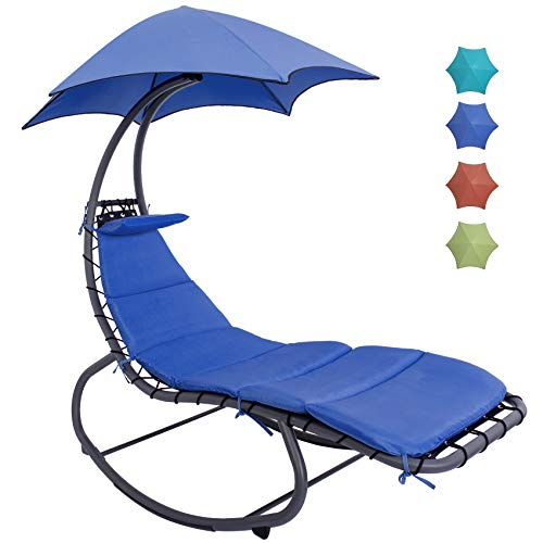 Lazy Daze Hammocks Chaise Lounger Chair Curved Steel Lounger Swing Chair with Built-in Pillow and Removable Canopy, for Patio Indoor Outdoor, 450 LBS Weight Capacity, Royal Blue