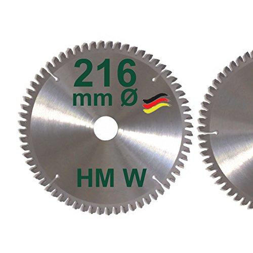 HM Sägeblatt 216 x 30 mm Zähne 64 W negativ Kreissägeblatt Hartmetall 216mm Ersatzsägeblatt für Elu/Dewalt/Festo/Festool/Hitachi/Holz Her/Scheppach/Rexon