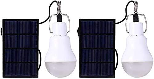 LukyTimo lampe solaire portable ampoule LED Panneau solaire Alimenté par batterie solaire lumières Intérieur Extérieur 1,5W 5V (2 Pack)