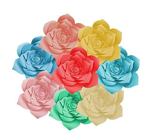 WANGSAURA Décoration Murale Modèle de Fleur de Papier Géant Rose Bricolage De Mariage Fête Fournitures (Grey, OneSize)