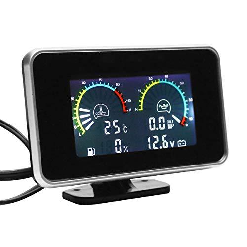 TOOGOO 4-En-1 LCD Coche LCD Digital Medidor de Presión de Aceite del Instrumento Voltímetro Medidor de La Temperatura del Agua del Medidor de Combustible Combinado Reloj M10