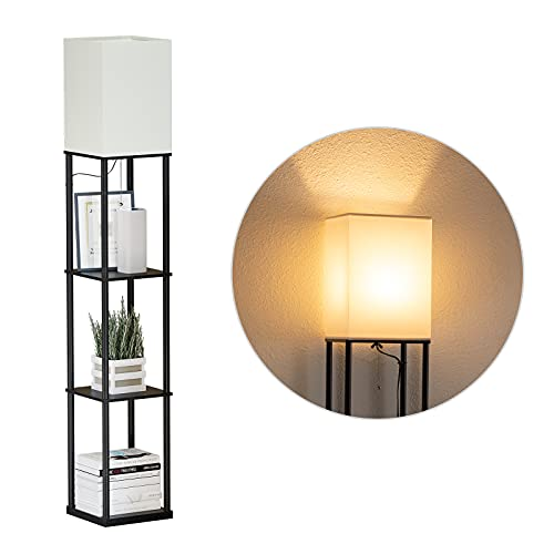 SUNMORY Stehlampe Wohnzimmer,Stehlampe Regal Dimmbar Inklusive 3-Farbtemperatur-LED-Lampe, Stehleuchte Wohnzimmer für Wohnzimmer, Schlafzimmer, Arbeitszimmer und Büro, Stehlampe Regal Schwarz
