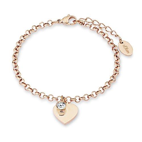 s.Oliver Gliederarmkette mit Anhänger für Damen Herz, Edelstahl IP rose