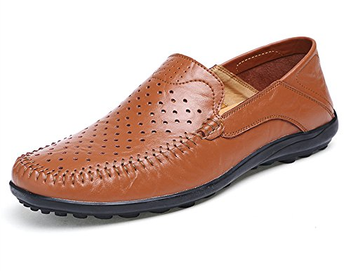 BIFINI Men's Premium Leather Driving Moc Casual Shoes Breathable Hole Brown
