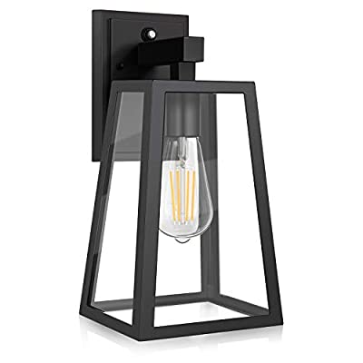 Dusk to Dawn Outdoor Wall Lantern, Exterior Wall Sconce Fixture with E26 Base LED Bulb, Anti-Rust Waterproof Matte Black Wall Lamp, Clear Glass for Garage, Doorway, Porch, Garden, Courtyard