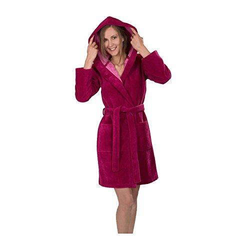 WeWo fashion Damen Bademantel 6110 Himbeere, S