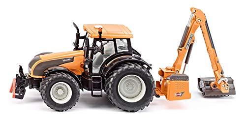 SIKU 3659, Valtra Traktor mit Kuhn Böschungsmähwerk, 1:32, Metall/Kunststoff, orange, Abnehmbare Kabine, Schwenkbares Mähwerk