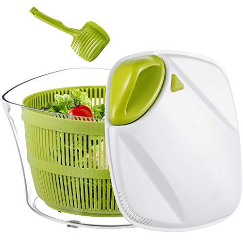 Focovida Salatschleuder 5L mit Deckel und Nudelzange, Design Patent Großer Salattrockner inkl. Salatschüssel zum Servieren & Ablaufsieb für Wasser aus Kunststoff, Hohe Effizienz, Transparent
