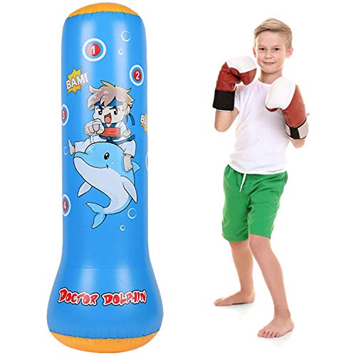 SFJRY Saco de Arena Inflable para Fitness, Saco de Arena de Boxeo de pie, para jóvenes y niños, Saco de Arena Pesado, combinación de Fitness y Entretenimiento