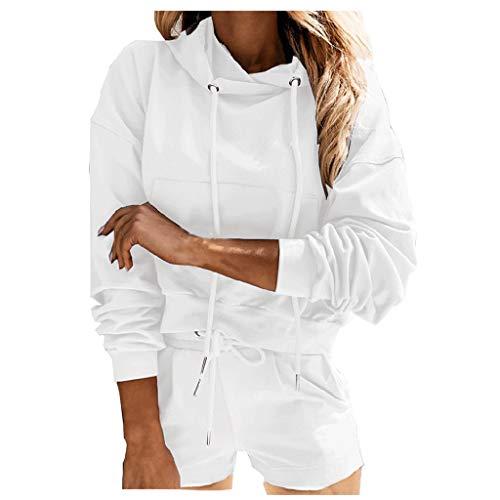 HWTOP Trainingsanzüge Damen Kapuzenpullover Sweatshirt Shorts Sportswear-Sets Langarm Kapuze Pullover Tasche Freizeit Tops + Shorts Set Sportanzug, Weiß, XL