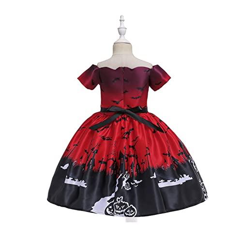 Yokbeer Nios Nias Disfraz de Fiesta de Halloween Bruja Fantasma Calabaza Calavera Cosplay Trajes de Disfraces con Sombrero de Bruja (Color : Red, Size : XL)