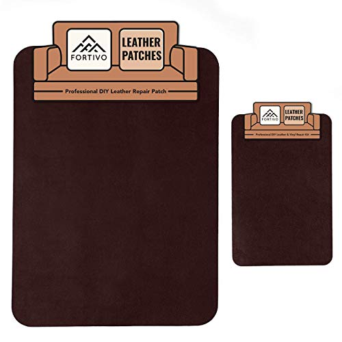 FORTIVO Dark Brown Leather Repair Kits for Couches, Leather Repair Patch, Vinyl Repair Kit - Leather Repair Kit for Car Seats, Vinyl Upholstery, Sofa - Cat Scratch Tape, Dark Brown Tape for Furniture