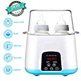 Baby Bottle Warmer, Bottle Steam Sterilizer 5-in-1 Smart Thermostat Double Bottle Baby Food Heater For Breast Milk Or Formula,Intelligent LED Panel Control Real-time Display Of Fast Warming