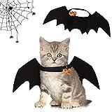 Alas de murciélago para Mascotas, Alas de murciélago para Perros Alas para Mascotas de Halloween con 2 Campana de Calabaza Disfraz de Murciélago para Gatos,para Fiesta de Halloween (1)
