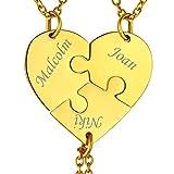 Joyería Personalizada para Mujeres Collar Corazón Puzzle 3 Piezas con Nombres Regalo Memorial Precioso para Novias Parejas Mejores Amigas Cadenas Doradas Acero Inoxidable 316L
