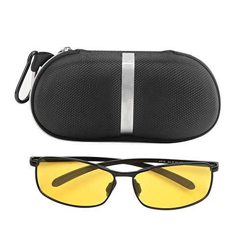 Cuadrado Aluminio Magnesio Gafas de Sol, Acolchado Motocicleta Gafas de Sol HD Noche Visión Ojo Cepa 14x16x3.7cm TAC y Aluminio Magnesio Metal por Exterior Deportes