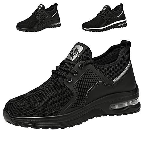 Zapatos de Seguridad Hombre Mujer Ligero Transpirables Zapatillas de Seguridad con Punta de Acero Zapatos de Trabajo(01 Negro,Taille 39)