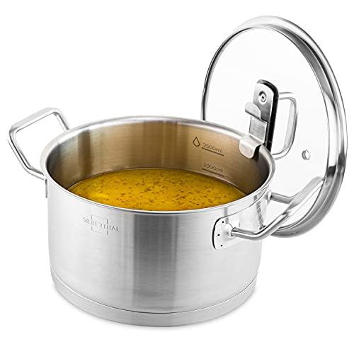 SILBERTHAL Kochtopf Induktion 20 cm - Edelstahl - 3,5L - Topf mit Deckel zum Einhängen - Für alle Herdarten - Ofenfest