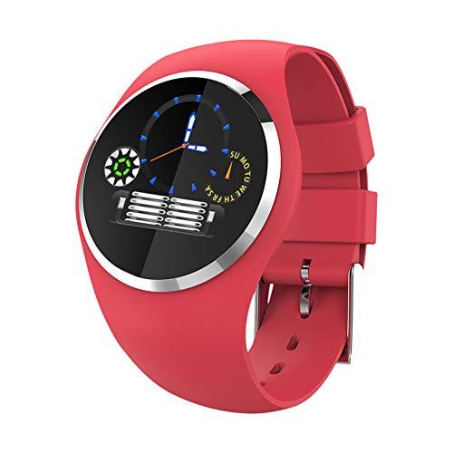 XYZNSH Dameshorloge en fitnesstracker, 1,04 inch, hartslagfrequentie, bloeddruk, slaapmonitor, gezonde, beweging, weer, boodschap, herinnering, rood