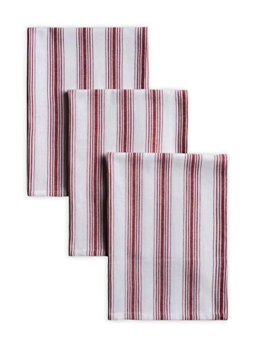 CALICOT 100% Cotton Set of 3 Multi-Purpose Resuable Kitchen Towel Soft Absorbent Dish Towels | Tea Towels | Bar Towels for Kitchen | Cooking | Tablelinen (Red Stripe, 20 Inch by 27.50 Inch)