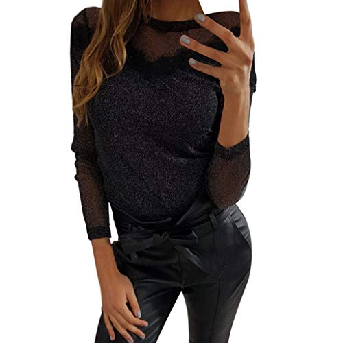 AMUSTER T-Shirt Damen, Mädchen Glitzer Perspektive Glanz Bluse Night Club Outfit Party Schwarz Perspektive Sexy Shirt Bluse
