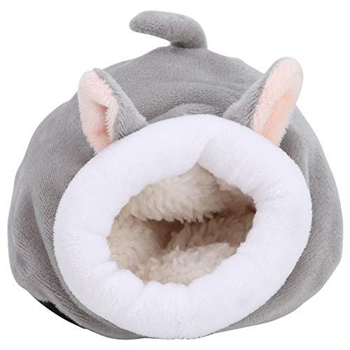 Pssopp Ardilla para Mascotas Nido de Dormir Saco de Dormir de Invierno cálido Mini Erizo de algodón Lindo Juguete de Jaula de casa de Animales pequeños(Gris)