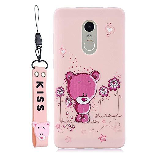 LAXIN Case Compatible with Xiaomi Redmi Note 4 / Xiaomi Redmi Note 4x Global Soft TPU Silicone Panda Flexible Cute Animal Protective Back Cover+Bear Lanyard