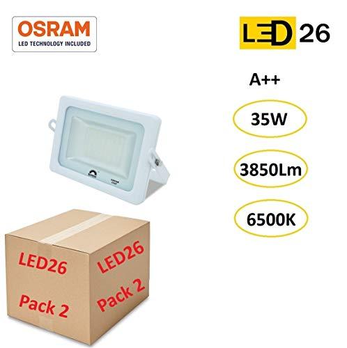 LED26® Exterior Floodlight Led PACK DE 2 Focos 35w chip LED OSRAM Proyector Led para Exterior Iluminación Decoración 6500k IP65 Blanco [Clase de eficiencia energética A++]