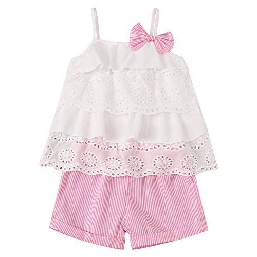 Toddler Baby Girls Clothes Ruffle Cami Lace Tank Tops Blouse Striped Shorts Pants Kids Summer Outfit Set(2-3T,100)