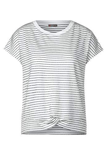 Street One Damen T-Shirt mit Streifen White 40