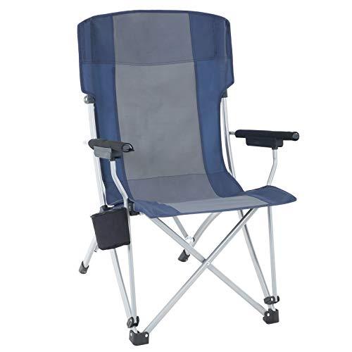 SONGMICS Opvouwbare campingstoel, buitenstoel met brede en comfortabele zitting, stabiele structuur, Max. Capaciteit 150 kg Donkerblauw en grijs