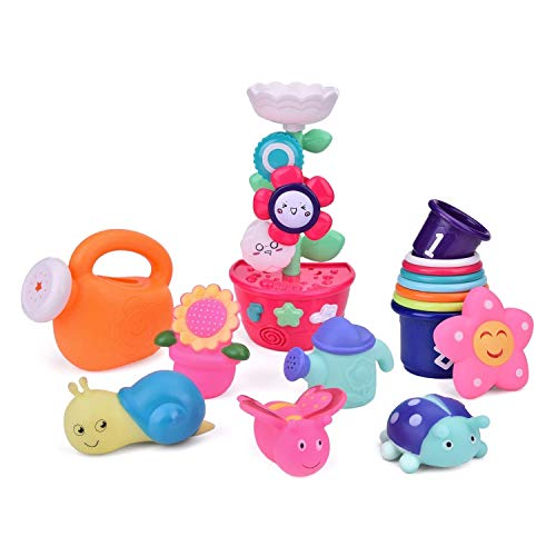 FUN LITTLE TOYS Bath Toys Toddlers, Flower Waterfall Water Station Garden Squirter Toys, Stacking Cups Watering Can, Bath Toy Organizer Included Gift for Kids, 9 Pieces