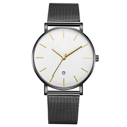 GJHBFUK Reloj De Moda Redonda De Moda Reloj De Pulsera De Cuarzo Analógico (cinturón Negro, Caja Negra, Espejo Blanco Aguja De Oro)