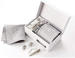 European style Grey Flower pattern High quality necktie set Tie Clip Cufflinks Hanky Necktie business formal for male for gift