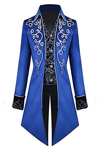 LPQSY Cosplay Kleidung Herren Steampunk-Heckmanteljacke Gothic-Druckmantel Uniform Cosplay-Kostüm für Halloween (Farbe : Blau, Size : 3XL)