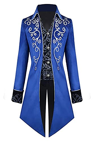 LPQSY Cosplay Cosplay Veste Steampunk Homme Jacket Gothic Fock Costume Cosplay Uniforme pour Halloween (Couleur : Bleu, Size : 3XL)