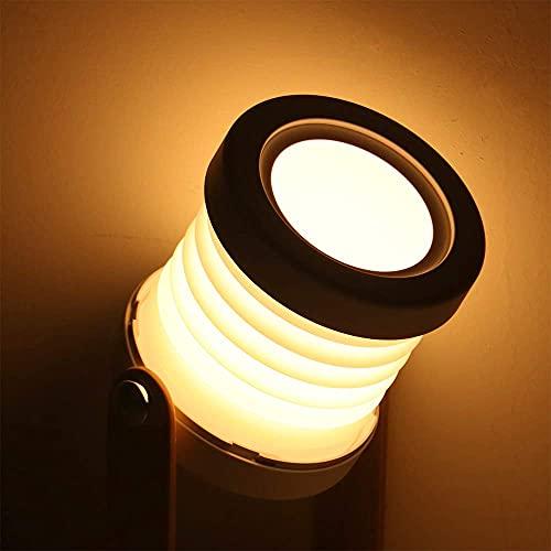 BIOBEY Lámpara de linterna de mesa plegable, lámpara de lectura con mango de madera, linterna portátil, lámpara de mesa LED plegable retráctil USB para la cabecera del dormitorio