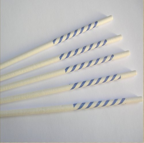 New 100pcs 4 1/2 X 5/32 Lollipop Sticks for Cake Pops - Blue Stripy Color