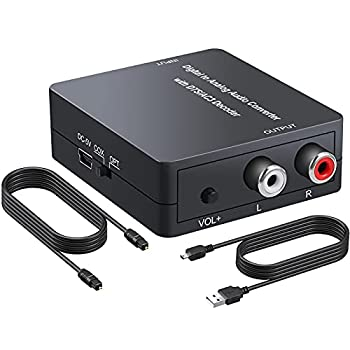 PROZOR Digital to Analog Audio Converter Support Dolby/DTS Decoder Optical Out to RCA DAC Decoder Optical to 3.5mm Converter Optical/SPDIF/Toslink/Coaxial/DTS/PCM/5.1CH to 2CH Analog Stereo