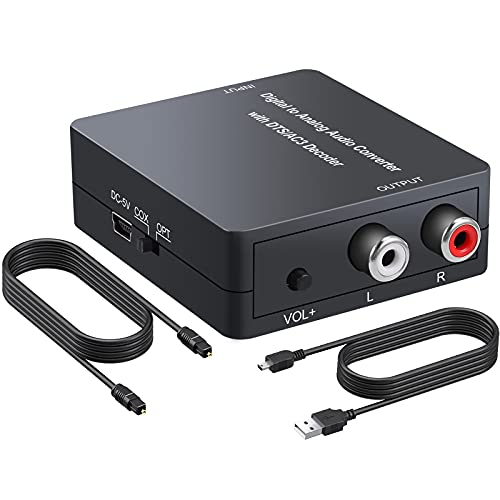 PROZOR Digital to Analog Audio Converter Support Dolby/DTS Decoder, Optical Out to RCA DAC Decoder, Optical to 3.5mm Converter, Optical/SPDIF/Toslink/Coaxial/DTS/PCM/5.1CH to 2CH Analog Stereo