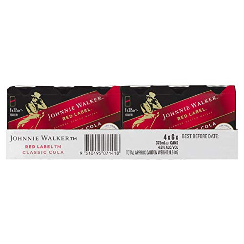 Johnnie Walker Red Label and Classic Cola 375ml Can (Pack of 24)