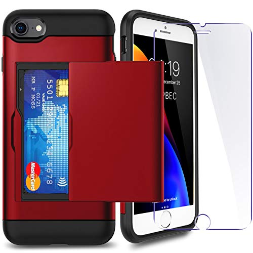 iPhone 6P/ 6sP Plus Case with Card Holder and[ Screen Protector Tempered...