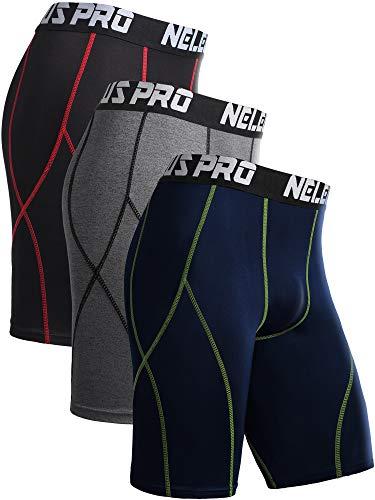 Neleus Men's 3 Pack Sport Running Compression Shorts,6012,Black (Red Stripe),Grey,Navy Blue,XL
