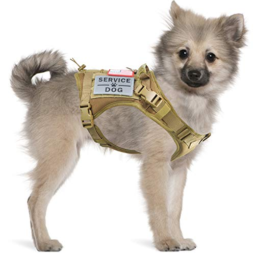 Tactical Service Dog Harness Vest,K9 Adjustable Work Water-Resistant Military Comfortable Molle Handle with Extenrder Strap (S, Khaki)