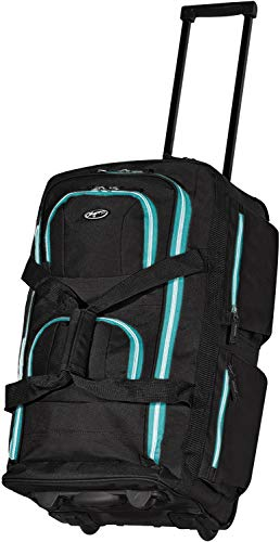Olympia 8 Pocket Rolling Duffel Bag, Black/Teal, 22 inch