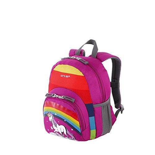 Let\'s Go Kinderrucksack KRS/1 8Liter, praktischer Kindergartenrucksack mit Einhorn und Fußball Motiv für Mädchen und Jungen, Kinderrucksack aus strapazierfähigem Polyester (30x24x14cm)