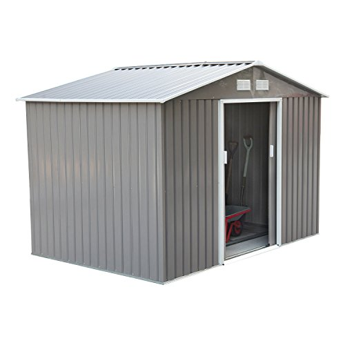 Outsunny 6' x 9' Outdoor Metal Garden Shed Utility Tool Storage, Steel Backyard House with Sliding Door, Grey and White